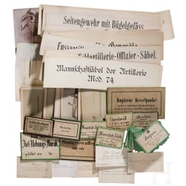 Photos, business cards, museum signs, Germany/Saxony, circa 1870-1900