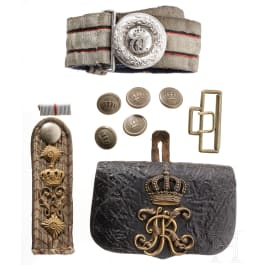 A cartouche box, a belt and a shoulder board for officers, circa 1900