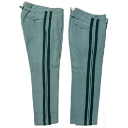 Prussia - two cloth trousers for Jaeger officers, circa 1910