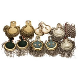 Five pairs of epaulettes and one pair of shoulder boards, circa 1900