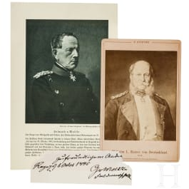 An autograph by Moltke and a portrait of Wilhelm I.
