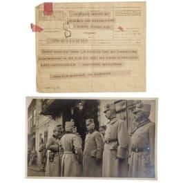 Generalfeldmarschall Paul von Hindenburg - a telegram to Freiherr von Stöger-Steiner von Steinstätten, World War I