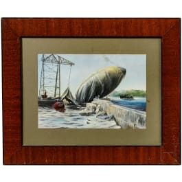 Naval airship in port