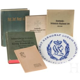 A Meissen regimental plate of the Infantry Regiment Margrave Ludwig Wilhelm (3rd Baden) No. 111 and five Baden military books