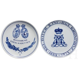 "Two Meissen regimental plates of the Royal Bavarian 2nd Infantry Regiment ""Kronprinz"" and the Reichsbund of former cadets"