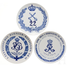 Three Meissen regimental plates of the 5th Lorraine Infantry Regiment and the Pioneer Battalions No. 15 and 22