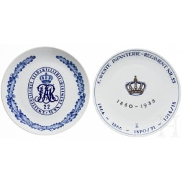 Two Meissen regimental plates of the 5th Westphalian Infantry Regiment No. 53 and the 2nd Westphalian Field Artillery Regiment No. 22