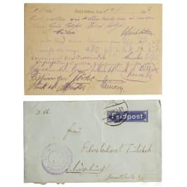 A field postcard of members of Jasta 12 to their squadron leader Hauptmann von Tutschek, dated June 14, 1917