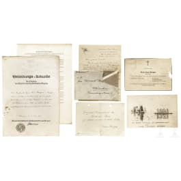 Claus Bergen - a certificate, a drawing and documents from the estate of the marine painter, German, mainly 1930s