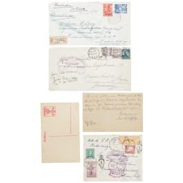 """Zwei Briefkuverts von Bord des Luftschiffes LZ 129 """"Hindenburg"""", 1936, sowie der """"Graf Zeppelin"""", 1928"""