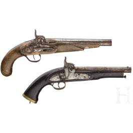 Two Indian or North African percussion pistols, 19th century
