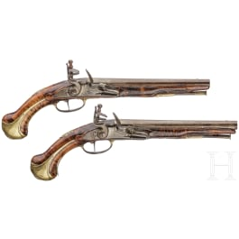 A pair of flintlock pistols by Jean Griottier in St. Étienne, circa 1750