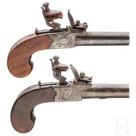 Two similar flintlock pocket pistols by Spencer and Jackson & Hall, London, circa 1780