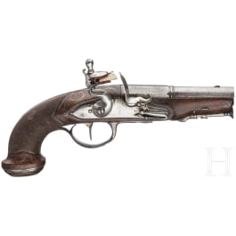A French pocket flintlock pistol, circa 1790