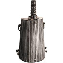 A chiselled all-metal powder flask, Brescia, 17th century