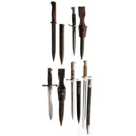 Five bayonets, German/Swiss, 1st half of 20th century
