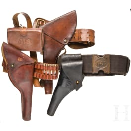 Three US American holsters, some military, 19th century