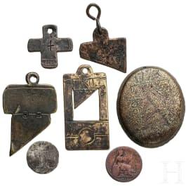 Sieben Hinrichtungsmarken, Frankreich und Großbritannien, 18. - 19. Jhdt.