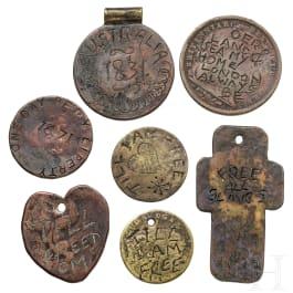 Sieben Sklaven- und Gefangenenmarken, Großbritannien, 18. - 19. Jhdt.