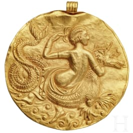 An outstanding Hellenistic gold medallion with a Nereid, 3rd century B.C.