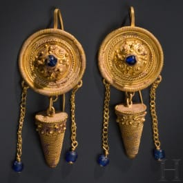A pair of highly ornate, heavy Hellenistic gold earrings, 2nd half of the 4th – 2nd century B.C.