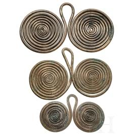Three Central European spectacle pendants, Bronze Age, 1300 - 800 B.C.