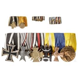 Sechsteilige Ordensschnalle und Miniaturen, 1866 - 1918