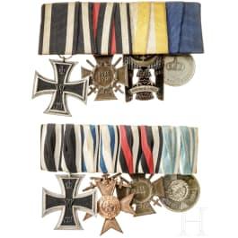 Zwei vierteilige Ordensschnallen, 1. Weltkrieg