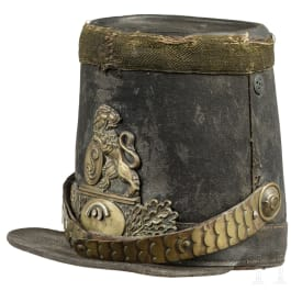 A shako M 1845 of the 2nd or 3rd Regiment of the Chasseurs à Pied