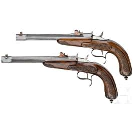 Ein Paar Duellpistolen, System Flobert, um 1880