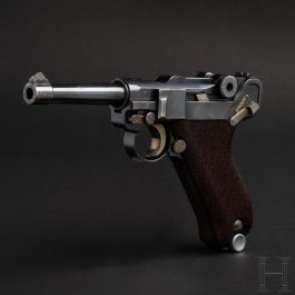 A Luger pistol with Mauser Banner 1940, Sweden, Commercial model, magazine with matching number