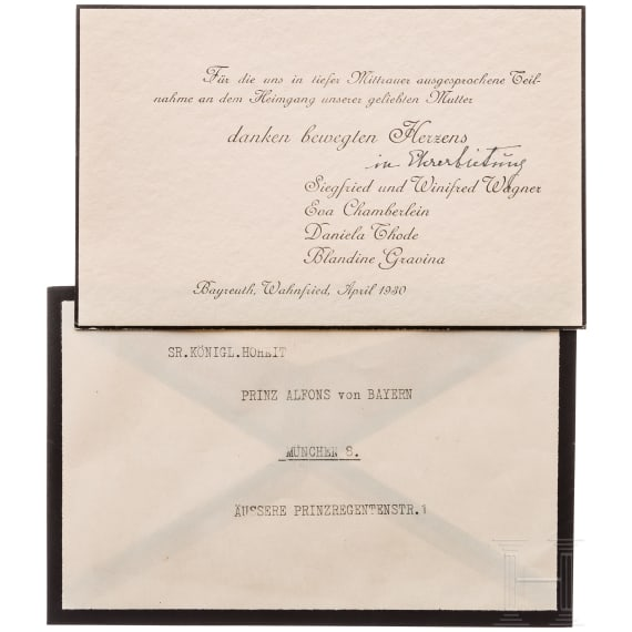 Prince Alfons of Bavaria - Acknowledgement cards and photos of the Wagner family