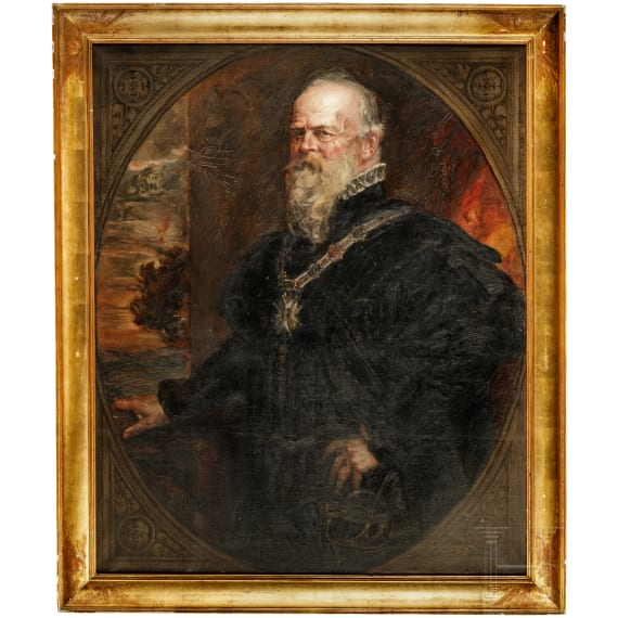 Friedrich August von Kaulbach (1850 - 1920) – Prince Regent Luitpold with the collar of the Order of St. Hubert, dated 1900