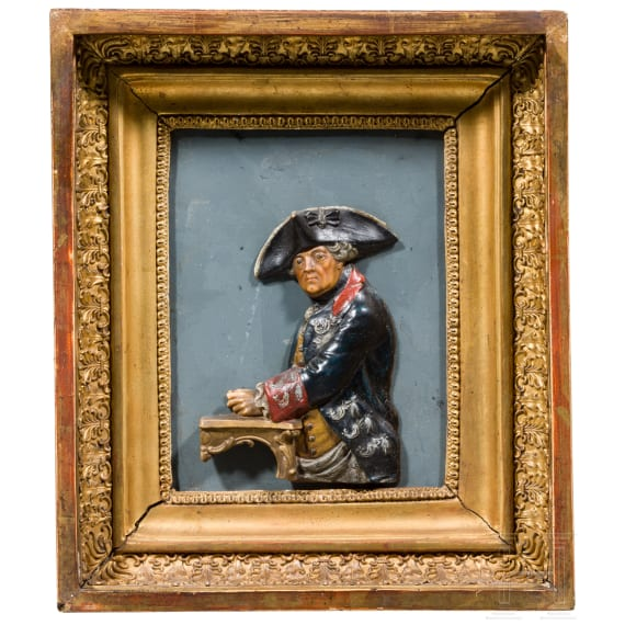 A wax relief, Friedrich II of Prussia, attributed to C.B.Hardy in Cologne