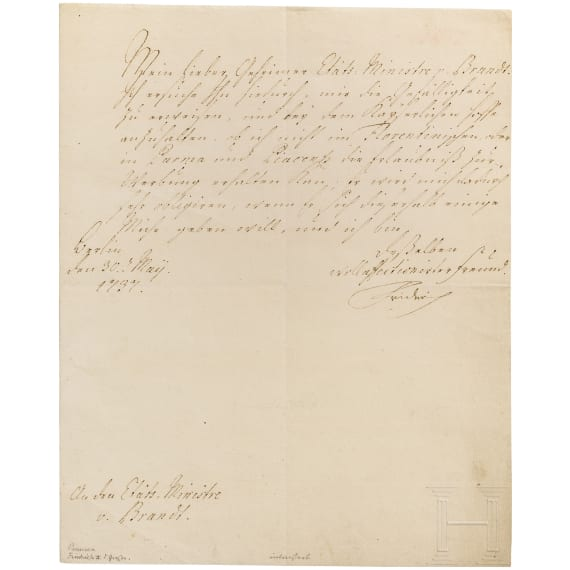 King Frederick II of Prussia - personally signed letter as Crown Prince 1737 to the minister von Brandt