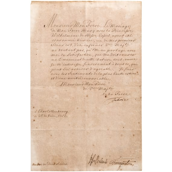 Frederick the Great - personally signed letter to King Charles V of both Sicilies of 26.6.1752