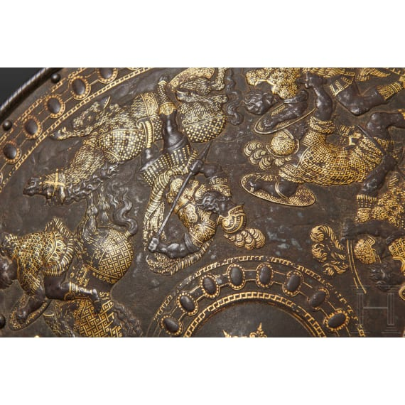 A Milanese gold-inlaid roundel, Italy, circa 1560/70