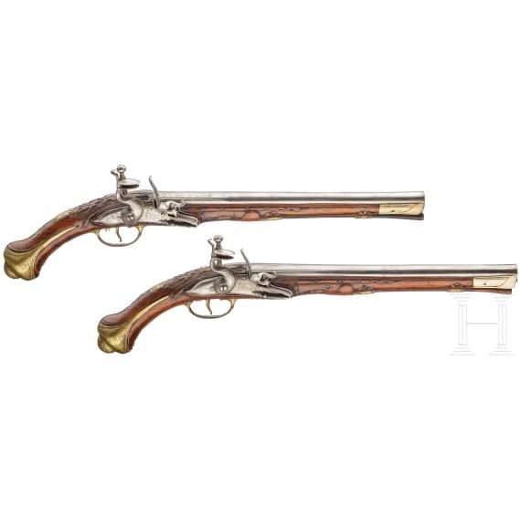 Ein Paar lange Steinschlosspistolen, balkantürkisch, 19. Jhdt.