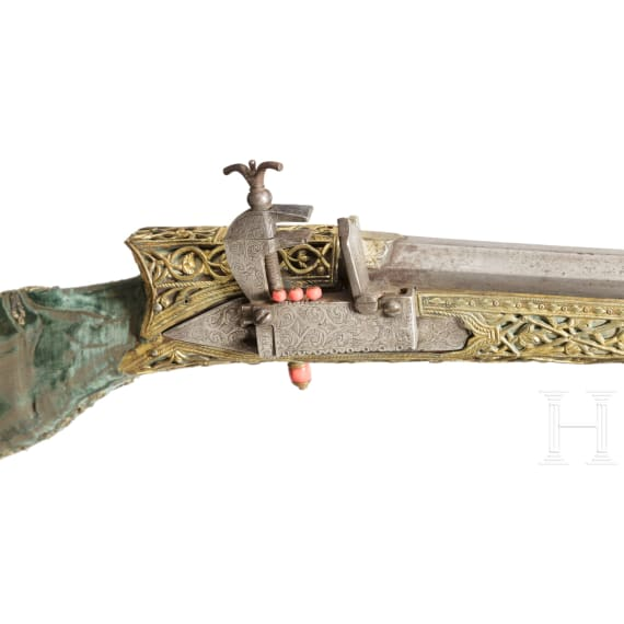 A magnificent Ottoman deluxe miquelet rifle with gilt silver mounts, circa 1780