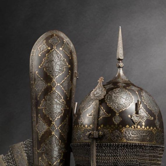 Geschnittene und goldtauschierte Rüstungsgarnitur, Persien, 1. Hälfte 19. Jhdt.