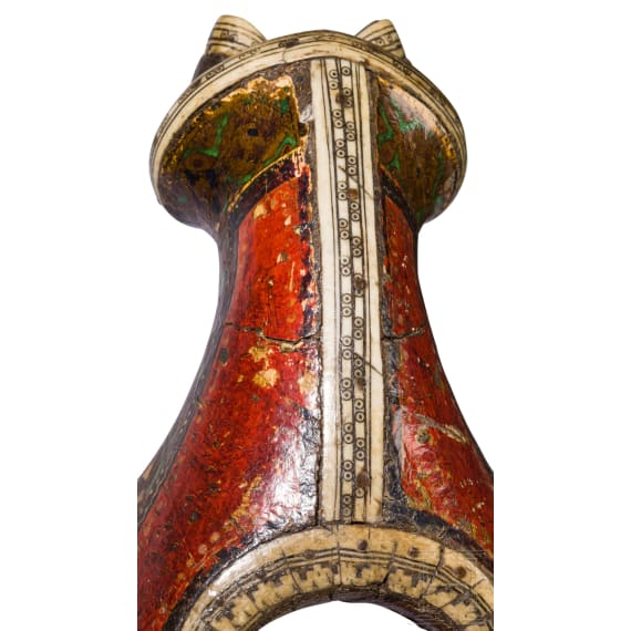 Bemalter und beineingelegter Sattel, Persien, 19. Jhdt.