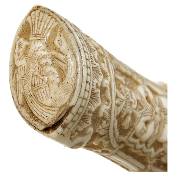 Goldtauschierter Kandschar mit beschnitztem Griff aus Walrosselfenbein, Persien, um 1800