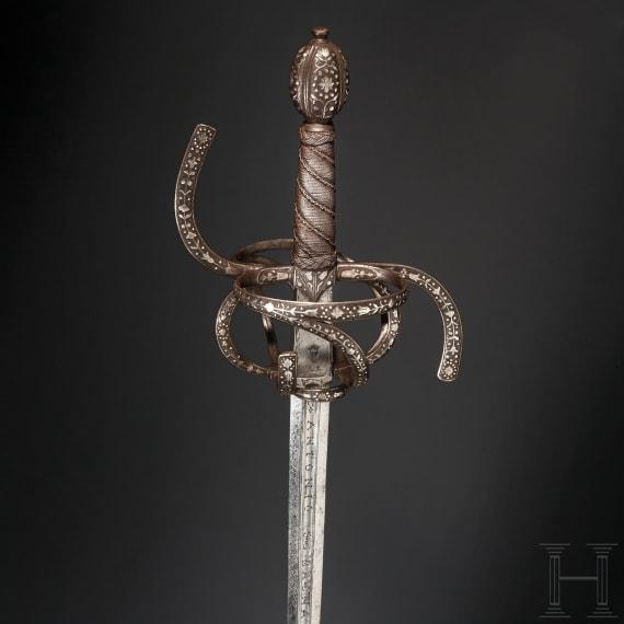 A silver-inlaid German/Spanish rapier, 16th/19th century