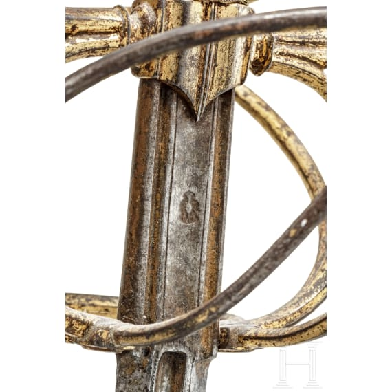 A German deluxe rapier with gold-plated hilt, circa 1600