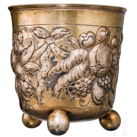 A Nuremberg silver cup with ball feet, circa 1690