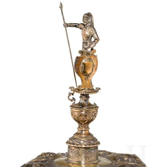 A monumental German lidded vermeil trophy cup, 2nd half of the 19th century