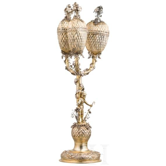 A German three-branch pineapple trophy set with diamonds, circa 1900