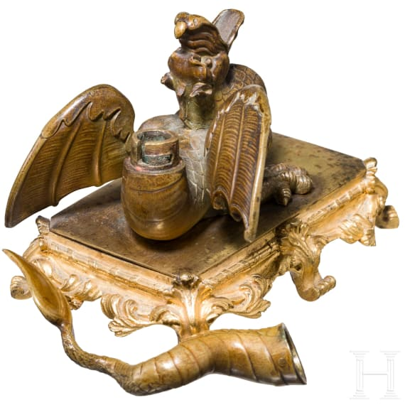 An exceptional, probably French Brule perfume with a dragon, 19th century