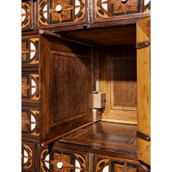 A large baroque cabinet with fine marquetry embellishment, probably Antwerp, 17th century
