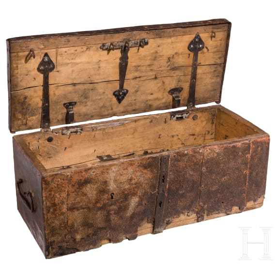 A German iron-framed war chest made of wooden, 17th century
